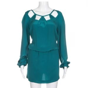 Anthropologie Leifsdottir teal silk dress 10